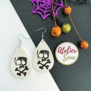 Skull and Crossbones Tear Drop Earrings